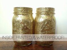 Gold Glitter WATERPROOF Inside Painted by LuluBelleDesign1182, $15.00