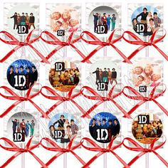 1 One Direction Niall Liam Louis Harry Zayne Lollipops w Red Bows Favors 12 Pcs | eBay