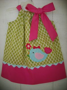 Easter Bird Pillowcase Dress by MyDaughtersShop on Etsy, $28.00