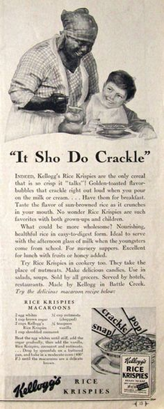 "1930 Kelogg's Rice Krispies Ad - ""It Sho Do Crackle"""
