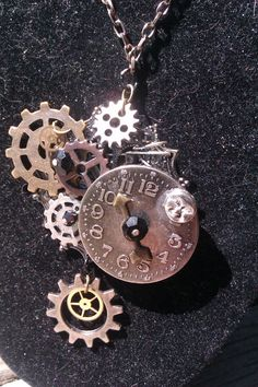Steam punk, necklace, jewelry, gears