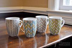 Hand Painted Chevron Mugs * Christmas idea