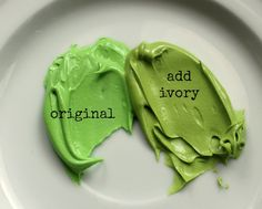 Some good tips for making different shades of green icing.