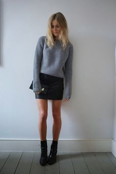 Simple sweater + Simple leather mini + Simple black booties = Simply perfection