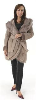 Make a Statement Very Feminine Taupe Shearling Belted Stroller