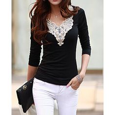 Fashionable V-Neck Lacework Splicing Long Sleeve Women's T-Shirt, BLACK, M in Tees & T-Shirts | DressLily.com