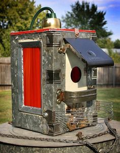 GadgetSponge Birdhouse Bird house Upcycled Red Stained Glass Lantern LIght Fixture of Found Objects Metal Recycled Upcycled Objects OOAK
