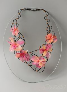 Fuchsia floral fine art necklace for romantic by FiveOClocks, $120.00