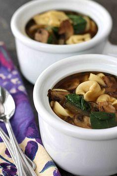 Slurpingly good! Tortellini Soup with Balsamic Caramelized Onions & Mushrooms | cookincanuck.com