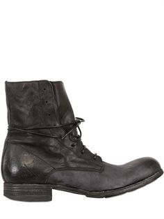 OFFICINE CREATIVE - 30MM CALFSKIN LACE UP BOOTS - LUISAVIAROMA - LUXURY SHOPPING WORLDWIDE SHIPPING - FLORENCE