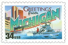 The Michigan State Postage Stamp Depicted above is the Michigan state 34 cent stamp from the Greetings From America commemorative stamp series. The United States Postal Service released this stamp on April 4, 2002. The retro design of this stamp resembles the large letter postcards that were popular with tourists in the 1930's and 1940's.