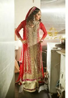 Husn e Afza Couture bridal anarkali gold red for Indian and Pakistani weddings