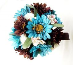 turquoise and brown wedding | Turquoise Bridal Bouquet Package Brown Gerberas custom Kelly ... wedding dresses camo garters camo wedding shoes mossy oak dresses wedding accessories guest books