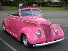 Pink 1937 Ford Roadster Convertible