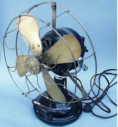 The Antique Electric Fan. Not much air in these osculating fans, but a whole lot of electricity used by big heavy electric motors.