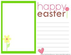 Free printable Easter Note Paper