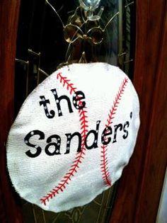 burlap baseball door hanger