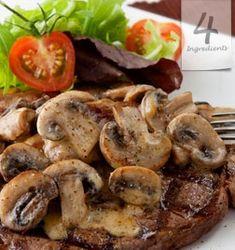 Steak with Mushroom Ragout _4 steaks   2 tbsp. butter   1 cup sliced mushrooms   125ml double cream