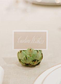 white calligraphy + artichoke name card holder