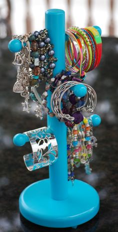 """bracelet tree, made from a mug tree that can be found easily at thrift stores. Easy on easy off access. """"thrifty"""" idea:"""")"""