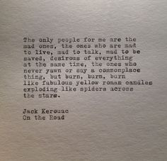 Jack Kerouac Quote Typed on Typewriter by farmnflea on Etsy, $10.00