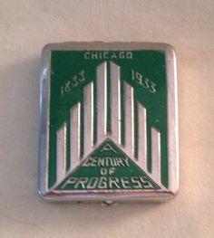 Vintage 1933 Chicago Century of Progress Ladies Compact