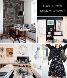 black + white modern eclectic board by Rachel @Hopscotch & Grace - dining room, living room, zebra, art, gallery wall, polka dot dress, leather jacket, rustic wood table
