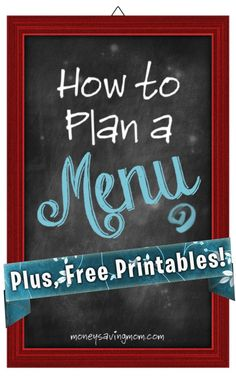 Wish you could figure out how to plan and follow a menu? You've GOT to read this post -- it's full of lots of great tips and tricks for planning and sticking with a menu. (Plus free printables, too!)