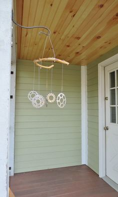 Wind Chimes, Bicycle Accessories, Kinetic Art, Recycled Bicycle Art, Woodworking. $32.00, via Etsy.