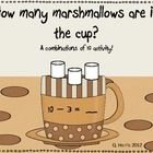 With this COMBINATIONS OF 10 activity, students will determine how many marshmallows are already IN the cup, based on the amount outside of the cup...
