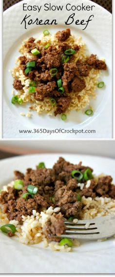 Easy Slow Cooker Korean Beef from 365 Days of Slow Cooking; the meat browns right in the slow cooker making this an easy meal with Asian flavors. [via Slow Cooker from Scratch] #SlowCooker #CrockPot