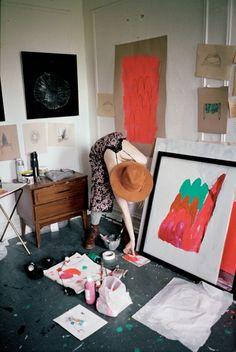 Photographed by Eléonore Hendricks. interior design, make art, studio spaces, artist studios, painting studio, painting rooms, paintings, helen frankenthaler, art rooms