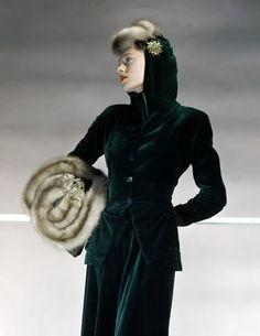 Model wearing green velveteen suit with baum-marten hat and muff,1941.