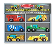 Wooden construction vehicles wooden construct, gift, delux wooden, educational toys, construct vehicl, melissa, doug delux, vehicl set, construction