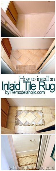 Install an Inlaid Tile Rug #tile #flooring #DIY via @Remodelaholic .com .com. Don't forget to do this in front of kitchen sink