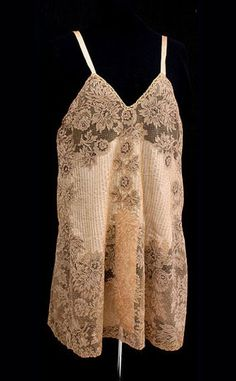 French hand stitched pleated silk teddy, c,1925, from the Vintage Textile archive.
