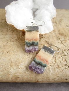 Druzy Earrings Drusy Druzy Quartz Amethyst by julianneblumlo, $60.00