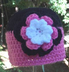 Fushia Black and  White Baby Girl Hat ready by sweetpeacollections, $12.00