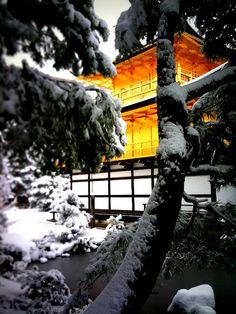 Kinkakuji temple in snow, Kyoto, Japan