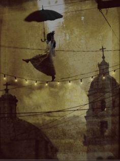 art illustrations, czech artist, dream, kamil vojnar, umbrella, string lights, the artist, walk, the wire