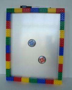 Lego inspired magnetic dry erase memo board and magnet set - teacher gift, bedroom decoration - Metallic Background