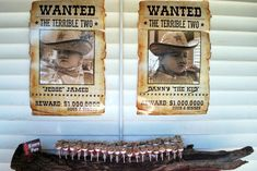 "Western Inspired Twin Birthday Party - adorable ""Wanted: The Terrible Two"" poster! #kidsparty #partyidea"