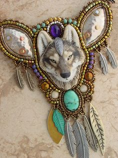 Timber Wolf Necklace by Heidi Kummli  Porcelain Timber Wolf by Laura Mears