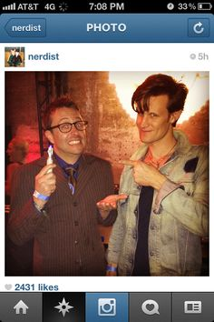 Busted. The Nerdist Podcast's Chris Hardwick dressed as the tenth Doctor...with Matt Smith.