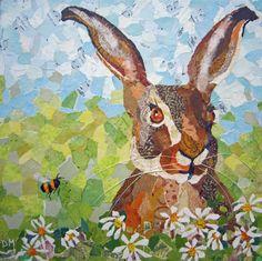 Spring Hare - Torn Painted Paper Art www.dawnmaciocia.com www.facebook.com/collagecreations