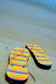 Flip flops on the beach.