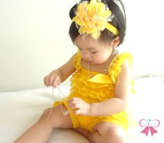 Spring Yellow Petti lace Romper, lace romper, newborn romper, baby girls birthday outfit, Photography props, baby romper, Easter. $19.99, via Etsy.