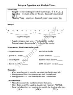 Integers (Opposites, Absolute Values, Situations): Worksheets, Notes, Assessment from Mrs Scott's Clasroom on TeachersNotebook.com -  (6 pages)  - This document is perfect for a lesson about integers. It includes a page of notes about defining integers, opposites, absolute values, and how to write integers in various situations. Also included ar