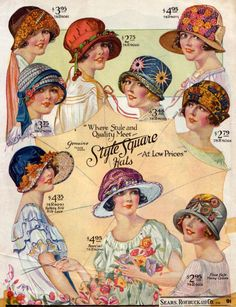 Hats, c. 1920. winter is coming, fashion sketches, vintage graphic, buttons, vintage hats, cherries, flappers, printabl, vintage style