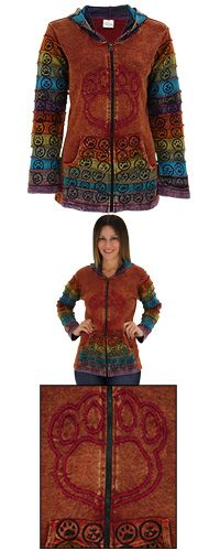 Center Stage Embroidered Paw Print Hooded Jacket at The Animal Rescue Site